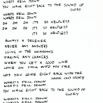 Kim's handwritten lyrics of 'Words fell down', from the Kim Wilde Fanclub magazine, vol. 1, no. 5 (1982)