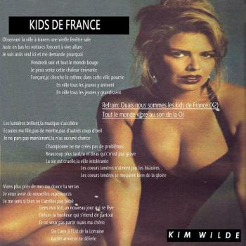 Lyrics of 'Kids de France' in the artwork for the Split EP