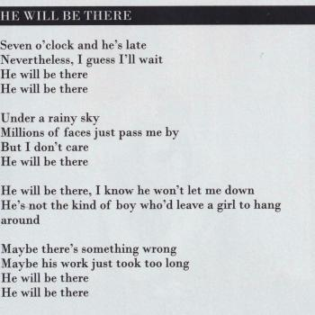 Lyrics of 'He will be there' in the artwork for 'Select' (Deluxe edition)