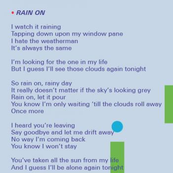 Lyrics of 'Rain On' in the CD booklet of 'Catch as Catch Can'