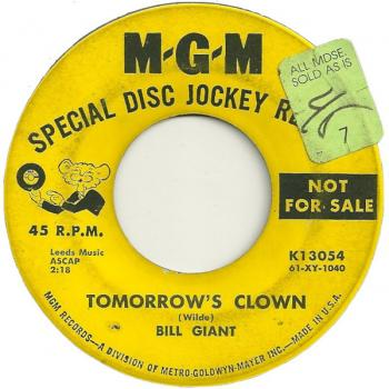 Label for 'Tomorrow's clown' on the B-side of the single 'Poof!!'