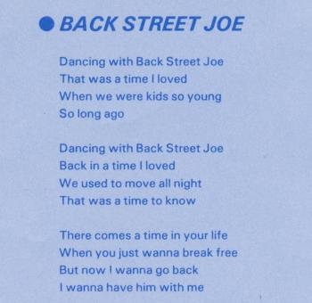 Lyrics for 'Back Street Joe'