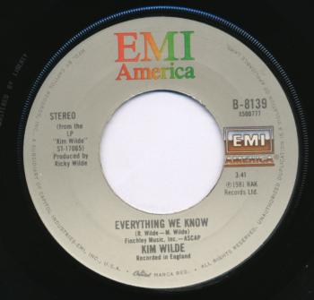 Label for 'Everything we know' on the B-side of 'Chequered love' in the USA