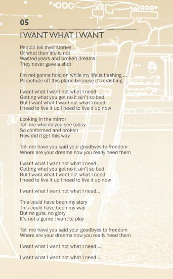 'I Want What I Want' lyrics in the cd booklet of 'Come Out and Play'