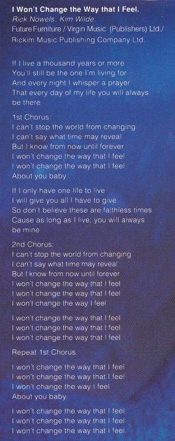 Lyrics of 'I won't change the way that I feel' on the inner sleeve of the LP 'Love is'