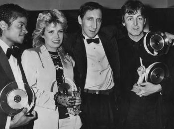 With Michael Jackson, Pete Townshend and Paul McCartney, 1983
