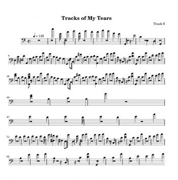 Sheet music for 'Tracks of my tears'