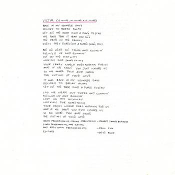 Lyrics of 'Victim' in the CD booklet of 'Another Step'