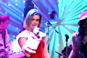 Kim Wilde performing 'We wish you a merry Christmas' on Tonight with Jonathan Ross, December 24, 1990