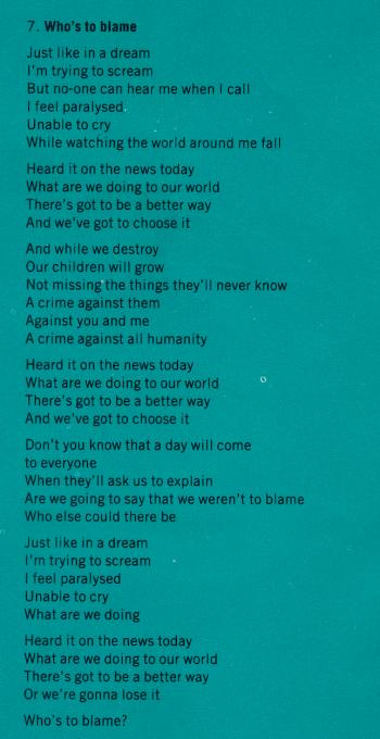 Lyrics of 'Who's to blame' on the inner sleeve of the LP 'Love moves'
