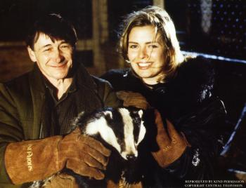 Kim in a television special about the plight of badgers, 1990.