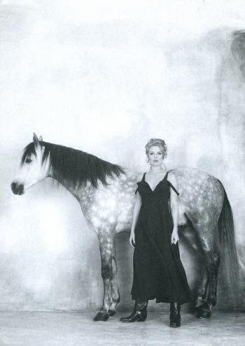 Beautiful promotional photo with a horse in 1992