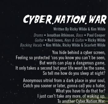 Part of the lyrics of 'Cyber.Nation.War' in the CD booklet of 'Here Come the Aliens'
