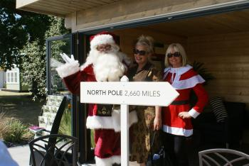 Kim visiting Santa at RHS Hampton Court Flower Show in 2013