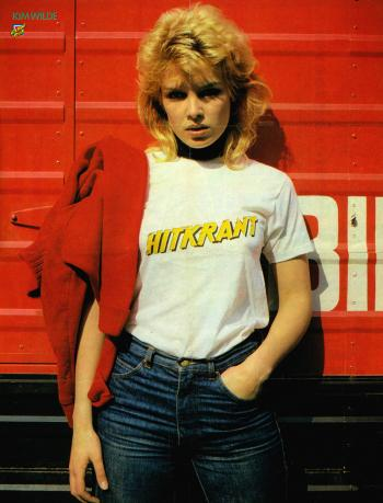 Kim Wilde wearing the Hitkrant T-shirt, 1981